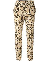 Gucci Beige Leopard Trousers - Lyst