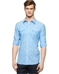 Calvin Klein Striped Roll-Tab Sleeve Shirt blue - Lyst