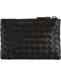 Bottega Veneta Intrecciato Key Holder Zip Case black - Lyst