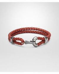 Bottega Veneta - Burnt Red Intrecciato Oxidized Silver Nappa Bracelet - Lyst