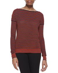 Halston Heritage Striped Bateau Long-sleeve Sweater - Lyst