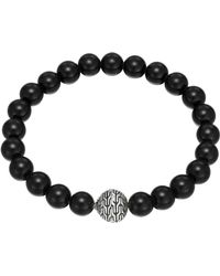 John Hardy Large Black Chalcedony Beaded Bracelet With Magnetic Clasp - Lyst