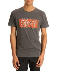 Obey Tshirt Decay Charcoal Print - Lyst