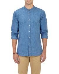 Aspesi Chambray Band Collar Shirt - Lyst