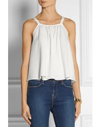 Finds  Stone Cold Fox Maryland Lace-trimmed Washed-twill Top - Lyst