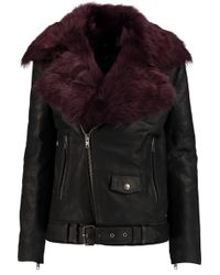 BLK DNM - Faux Fur-trimmed Leather Biker Jacket - Lyst