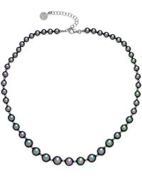 Majorica Sterling Silver Organic Man-made Gray Pearl Strand Necklace - Lyst