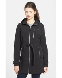 Calvin Klein Belted Hooded Soft-Shell Coat - Lyst