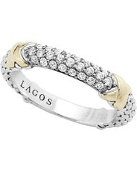 Lagos Silver & 18K Gold Pave Diamond Band Ring - Lyst