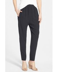 Eileen Fisher Slouchy Silk Ankle Pants - Lyst