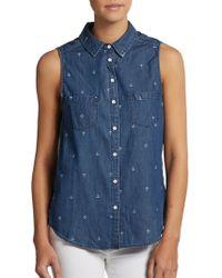 C&C California Anchor-Print Cotton Chambray Shirt - Lyst