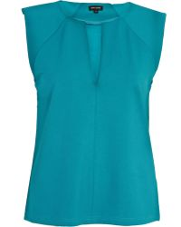 River Island - Teal Cut Out Shell Top - Lyst