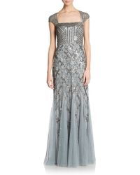 Adrianna Papell Beaded Portrait-Collar Gown - Lyst