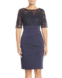 Adrianna Papell Lace & Crepe Sheath Dress - Lyst