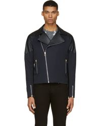Paul Smith Navy Leather Panel Biker Jacket - Lyst
