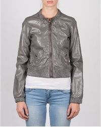 Members Only Faux Leather Vintage Bomber Jacket - Lyst