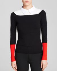 Karen Millen Collared Color Block Sweater   - Lyst