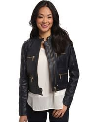 MICHAEL Michael Kors Zip Detailed Leather Jacket - Lyst