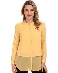 DKNY Long Sleeve Chiffon Double Layer Button Thru Blouse - Lyst