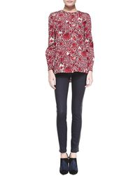 Tory Burch Harlow Leather-side Slim Jeans - Lyst