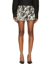 Rag & Bone Black and Ecru Distorted Animal Print Em Shorts - Lyst
