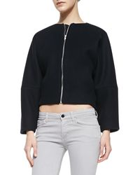 Victoria Beckham Cropped Wool Bomber Jacket - Lyst