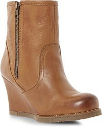 Dune Panup Shearling Lined Leather Wedge Boots - Lyst