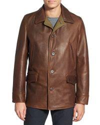 Schott nyc Retro Leather Car Coat in Brown for Men | Lyst