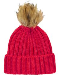 Topshop Pom Ribbed Beanie - Lyst
