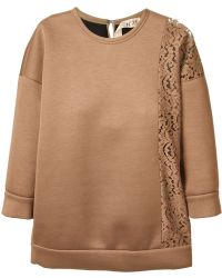 N°21 Lace-Panel Cotton-Blend Sweatshirt - Lyst