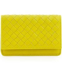 Bottega Veneta Intrecciato Leather Flap-top Card Case - Lyst