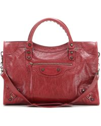 Balenciaga Classic City Leather Tote red - Lyst