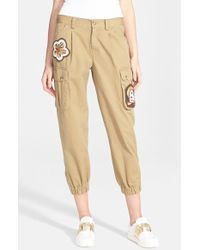 RED Valentino Embellished Cotton Twill Cargo Pants green - Lyst