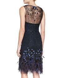 Carolina Herrera Embellished Feather Crepe Dress - Lyst