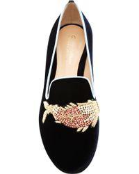 Mary Katrantzou - Scott Fish Embroidered Velvet Loafers - Lyst