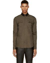Balmain Green Military Shirt - Lyst