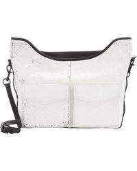 L.A.M.B. White And Black Crinkled Leather 'Glad' Utility Messenger Bag white - Lyst