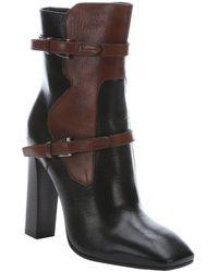 Prada Brown And Black Leather Concealed Platform Mid-Calf Booties - Lyst