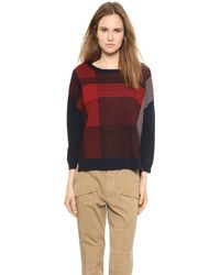 Band of Outsiders - Felted Wool Plaid Pullover Burgundy - Lyst