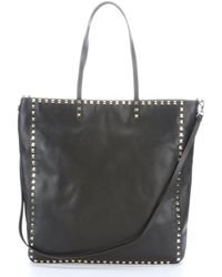 Valentino Black Leather 'Rockstud' Large Convertible Tote Bag - Lyst