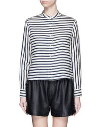 Rag & Bone | 'crop Leeds' Stripe Linen Shirt | Lyst