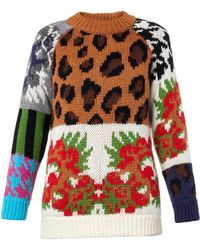 Tak.ori Leopard And Floral Intarsia-Knit Sweater - Lyst
