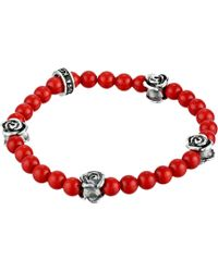 King Baby Studio 6mm Red Coral Bead Bracelet W 4 Roses - Lyst