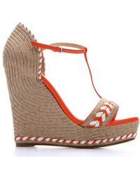 Gucci Orange Leather And Jute T-Strap Open Toe Wedge Espadrilles - Lyst