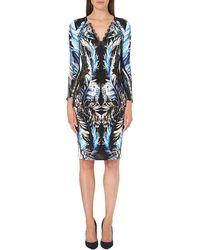 Roberto Cavalli Lace-trimmed Printed Dress - Lyst
