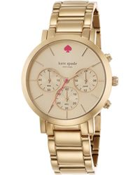 Kate Spade Gramercy Grand Rose Goldtone Stainless Steel Chronograph Bracelet Watch - Lyst