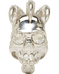 Alexander McQueen Silver Large Claw Skull Ring - Lyst
