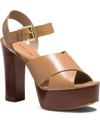 Michael Kors Dara Leather Platform Sandal - Lyst