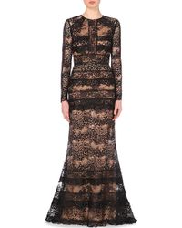 Elie Saab Belted Lace Gown - For Women - Lyst