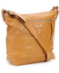 Balenciaga Brown Leather 'Day' Studded Shoulder Bag - Lyst
